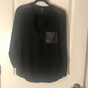 Silk and leather blouse